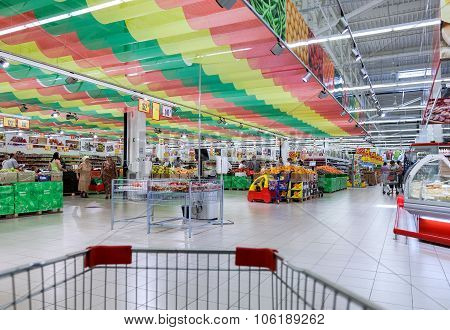 Interior Of The New Hypermarket Magnet. Russia's Largest Retailer