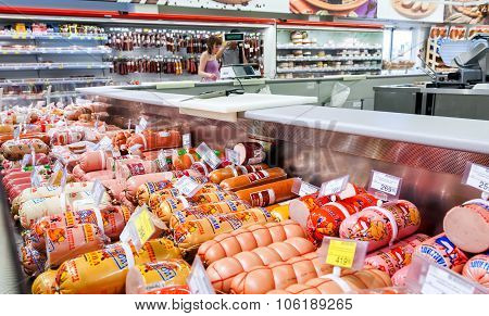 Meat And Sausage Ready For Sale In The Hypermarket Karusel