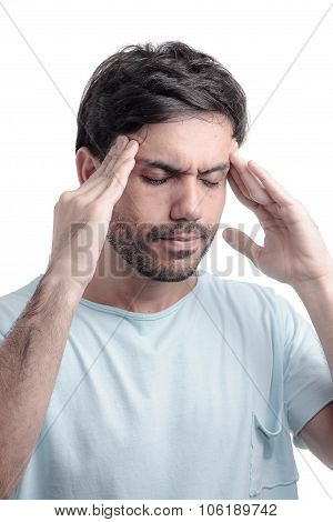 Sinus Pain, Sinus Pressure, Sinusitis. Sad Man Holding His Head Because Sinus Pain