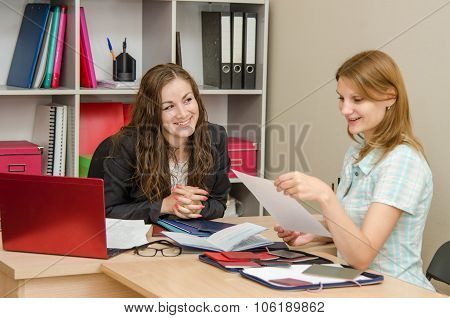 She Reads Your Resume On A Job Interview With A Specialist Human Resources