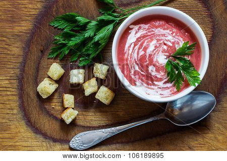 Vegetable Cream-soup With Beetroot, Croutons And Parsley