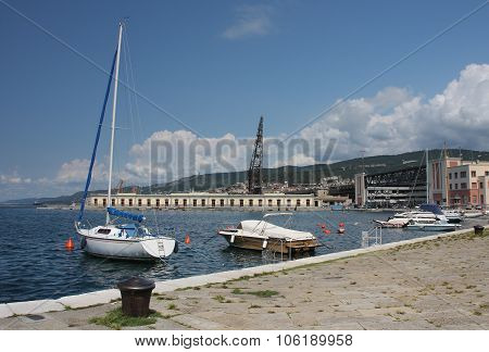 Boats Moored In Harbor In Trieste, Italy On Summer Day