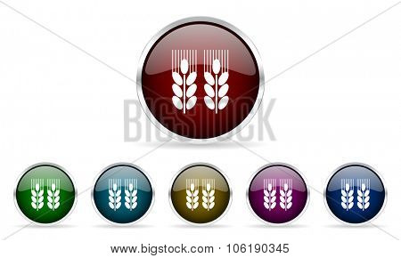 agricultural colorful glossy circle web icons set