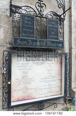 San Agustin Church Information Shield