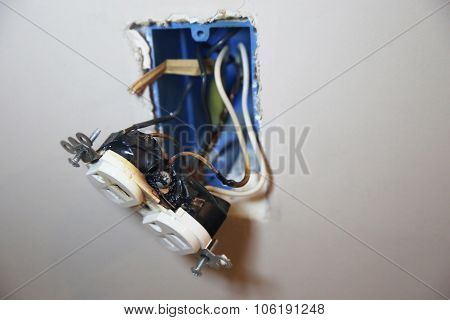 Burned Faulty Electrical Outlet