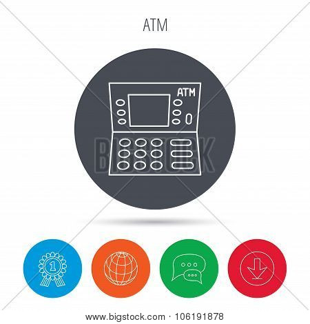 ATM icon. Automatic cash withdrawal sign.
