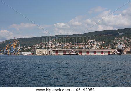 Harbor In Trieste, Italy On Summer Day