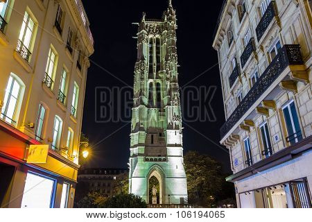 The Saint Jacques Tower At Night,paris, France.