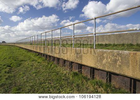 Sea Wall On Canvey Island, Essex, England