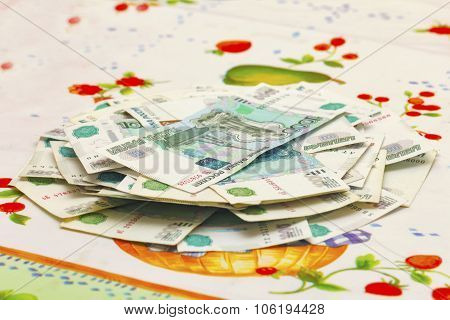 Russian Thousands Of Rubles Banknotes