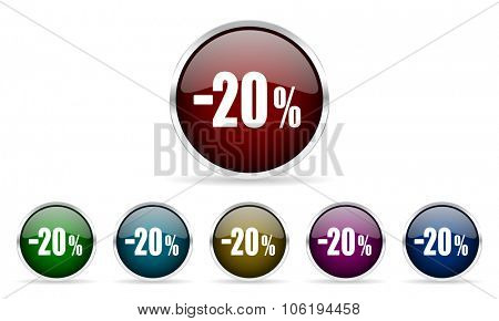 20 percent sale retail colorful glossy circle web icons set