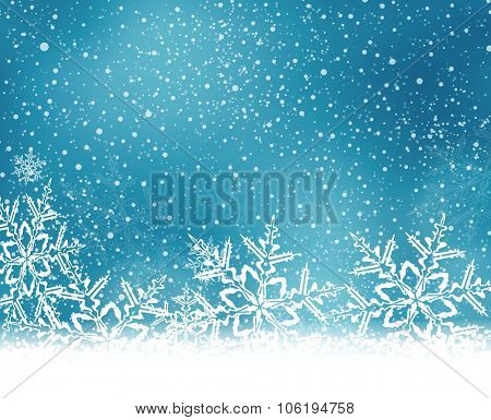 Abstract blue white winter card with snowflakes and space for your text.