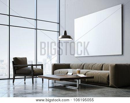 Modern loft studio with blank canvas. 3d rendering