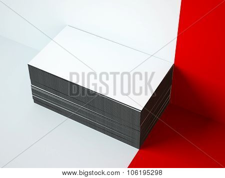 Stack of business cards on the white floor