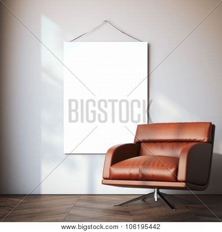 Blank canvas in modern interior. 3d rendering