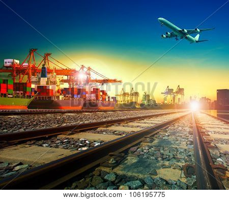 Railway Transport In Import Export Shipping Port And Cargo Plane Logistic Flying Above Use As Freigh