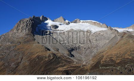 Heart shape on a mountain in the Swiss Alps