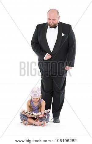 Little Girl And Servant In Tuxedo