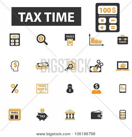 tax time, finance, accounting, accountant icon & sign concept vector set for infographics, website