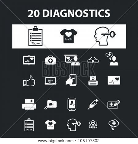 diagnostics, services icons, signs concept vector set for website, mobile, infographics