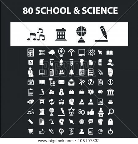 school, science, education, college icons, signs concept vector set for website, mobile, infographics