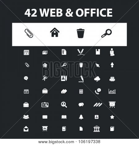 web, office, business icons, signs concept vector set for website, mobile, infographics