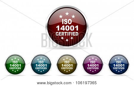 iso 14001 colorful glossy circle web icons set