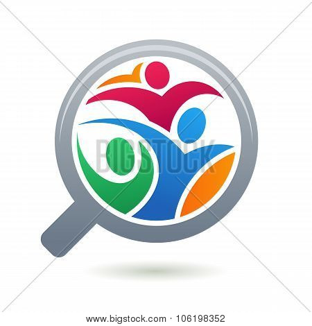 Colorful Abstract People Silhouette In Magnifier Shape.