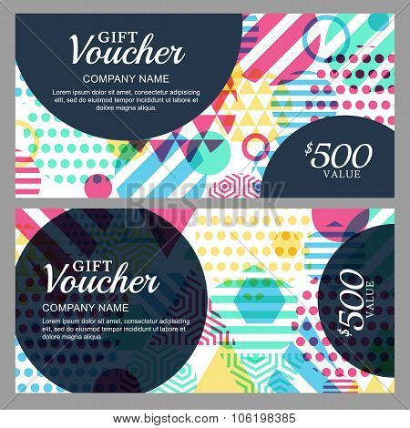 Vector Gift Voucher With Colorful Geometric Pattern.