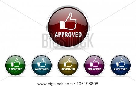 approved colorful glossy circle web icons set