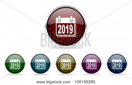 new year 2019 colorful glossy circle web icons set