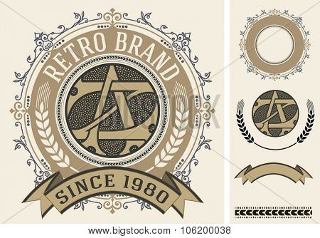 Retro label with monogram and elements