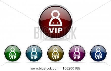 vip colorful glossy circle web icons set