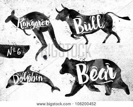 Painted Black Animals Bull