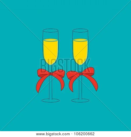 Champagne glass with red bow. Christmas pictures collection.