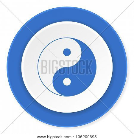 ying yang blue circle 3d modern design flat icon on white background