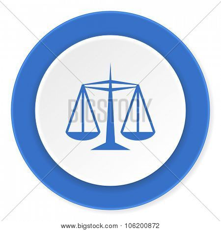 justice blue circle 3d modern design flat icon on white background