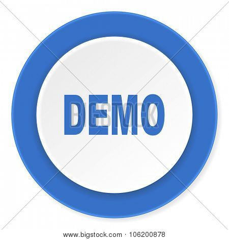 demo blue circle 3d modern design flat icon on white background