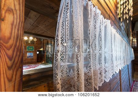 Wooden Tatar Mosque Interior In Kruszyniany, Poland
