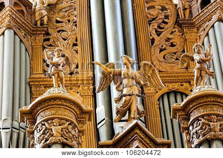 Organ In The Cathedral Of Tours, France