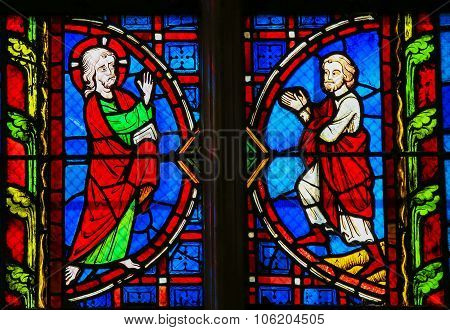 Stained Glass  In Tours Cathedral - Jesus