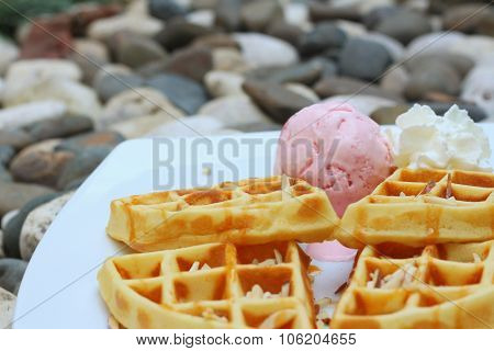 Waffles With Ice Cream On A White Plate.