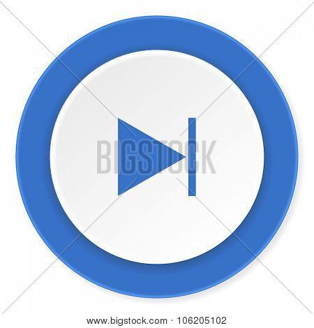 next blue circle 3d modern design flat icon on white background