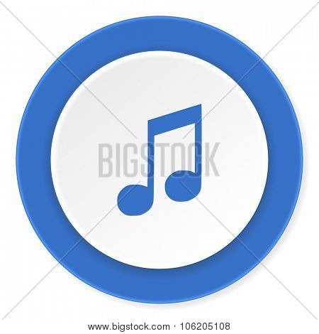 music blue circle 3d modern design flat icon on white background