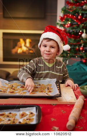 Portrait Of Small Child With Christmas Cake