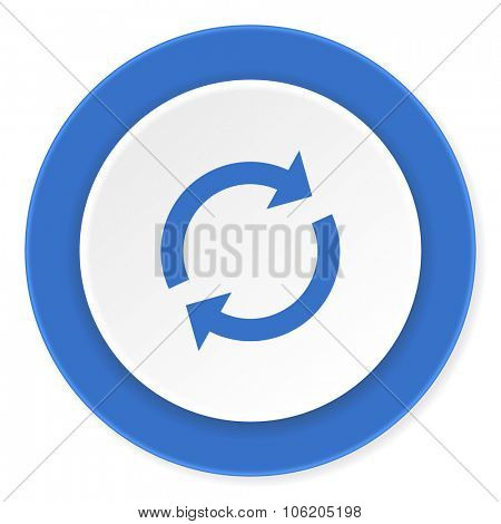 reload blue circle 3d modern design flat icon on white background