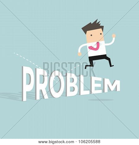 Businessman jump over the problem