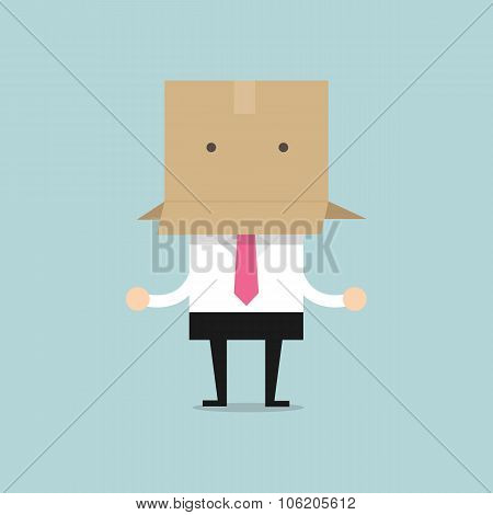 Businessman with a cardboard box on his head