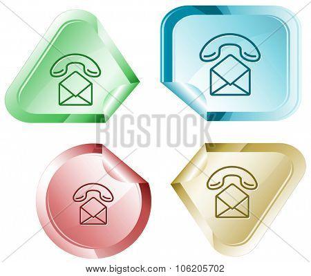 open mail with handset. Raster sticker.