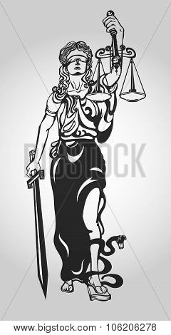 Themis goddess of justice. Femida vector illustration.